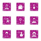 Fragrance Icons Set. Grunge Set Of 9 Fragrance Icons For Web Isolated On White Background poster