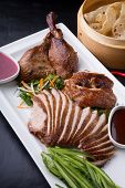 Peking Duck Chinese Dish Served On A White Plate poster
