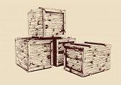 stock photo of wooden pallet  - vintage  wooden crates drawn vector llustration isolated - JPG