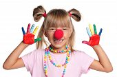 picture of clown face  - Portrait of happy little girl with red clown nose isolated on white background - JPG