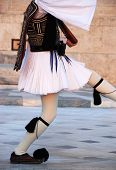 picture of evzon  - Evzone with a traditional uniform at syntagma square in Athens - JPG