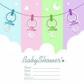 image of pacifier  - Vector baby shower invitation greeting card with pacifiers - JPG
