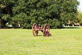 image of revolutionary war  - Single Revolutionary War canon on a green grass lawn - JPG