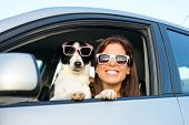 image of petting  - Woman and dog in car on summer travel - JPG