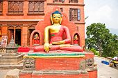 foto of budha  - Budha statue in Swayambhunath  Monkey temple  - JPG