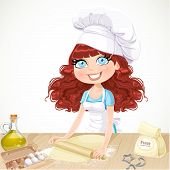 Cute Curly Hair Girl Baking Cookies Isolated On White Background