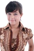 Elagance Cute Young Woman In Batik Dress Smiling