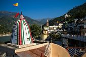 stock photo of gang  - City view and Ganges river in Rishikesh - JPG