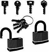 stock photo of pick-lock  - A detailed vector illustration of a lock and several keys - JPG
