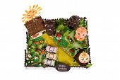 Big Birthday Cake With Animals In Courtyard poster