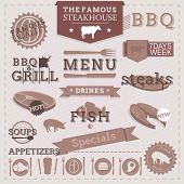 stock photo of bbq party  - Vintage BBQ Grill Steakhouse design elements and labels - JPG