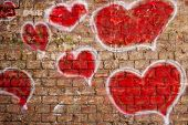 pic of mural  - original graffiti illustration of a heart of a brick wall - JPG