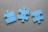 foto of darwin  - The word Evolution against background of human genome sequence printed on mismatched jigsaw pieces - JPG