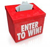 foto of win  - Enter To Win words on a red box with a slot for entering your tickets or entry form to win in a lottery - JPG
