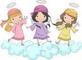 foto of little angel  - Illustration of Three Girl Angels with Head Scarves Standing on Clouds - JPG