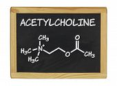 chemical formula of acetylcholine on a blackboard