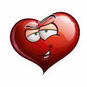 picture of flirtatious  - Cartoon Illustration of a Heart Face Emoticon Flirting - JPG