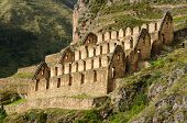 foto of andes  - Peru Ollantaytambo Pinkulluna Inca ruins in the sacred valley in the Peruvian Andes - JPG