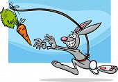 stock photo of dangling a carrot  - Cartoon Humor Concept Illustration of Dangling A Carrot Saying or Proverb - JPG