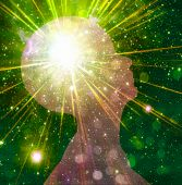 foto of clairvoyant  - Mind Power radiates from bright human head - JPG