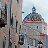 pic of michel  - san michele church in Alghero seen through old backstreets - JPG