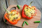 picture of pimiento  - Stuffed peppers with meat on the wooden plank - JPG