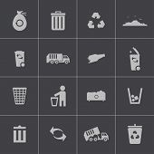 image of trash truck  - Vector black  garbage icons set on gray background - JPG