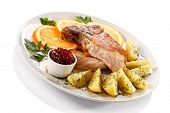 stock photo of pork cutlet  - Pork chop and boiled potatoes - JPG