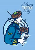 stock photo of bagpipes  - Greeting card poster showing illustration of a scotsman bagpiper playing bagpipes viewed from side set inside circle with words Happy Tartan Day - JPG