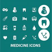 medicine, hospital icons, signs set, vector
