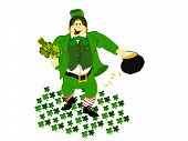 pic of fourleaf  - irish leprechaun dressed in green vested suit holding fourleaf clover bunch and pot of gold walking on ground clover - JPG