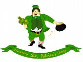 image of fourleaf  - irish leprechaun dressed in green vested suit with hat holding fourleaf clover and pot of gold with ribbon of Happy St - JPG