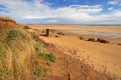 stock photo of emplacements  - ruins of concrete bunkers on Fraisthorpe beach - JPG