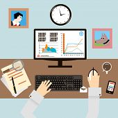 image of workstation  - Workplace with Hands and Infographic in Flat Design Style vector - JPG