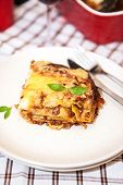stock photo of lasagna  - A piece of meat and tomato lasagna (Lasagna Bolognese) on the plate
