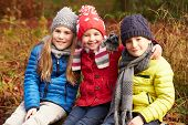 image of three sisters  - Three Children On Walk Through Winter Woodland - JPG