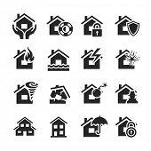 pic of landslide  - Property insurance icon set - JPG