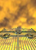 picture of gates heaven  - A concept image of the golden gates to heaven shut on a dramatic golden yellow cloud background - JPG