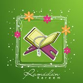 image of quran sharif  - Open Islamic religious holy book Quran Shareef with praying mantis in floral decorated square frame on shiny green background - JPG