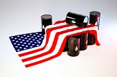 foto of stagnation  - 3d render image of the flag of the United States of America with oil barrels - JPG