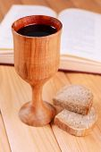 picture of communion-cup  - Cup of wine and bread on table close - JPG