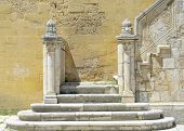 image of swabian  - Detail stone staircase in the courtyard of the Swabian castle of Gioia del Colle  - JPG