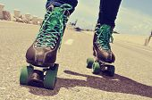 foto of roller-skating  - closeup of a young man roller skating - JPG