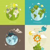 stock photo of windmills  - Ecology Concept Vector Icons Set for Environment - JPG