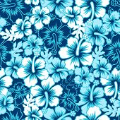 image of hibiscus  - A Surf floral hibiscus seamless pattern  - JPG