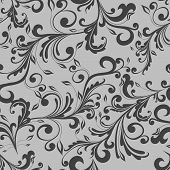 stock photo of swirly  - Floral and leaves swirly vintage texture seamless pattern vector illustration - JPG