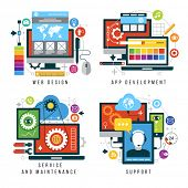 Set design and mobile web services and applications. Vector collection of concepts flat icons for web design, App development, service and maintenance, support poster