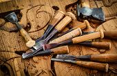 foto of woodcarving  - Vintage woodworking tools on the traditional Thai woodcarver - JPG