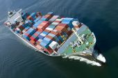stock photo of container ship  - An aerial view of a container ship - JPG