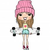 pic of jeans skirt  - Cute hipster fashion girl in hat and sneakers s with skateboard - JPG